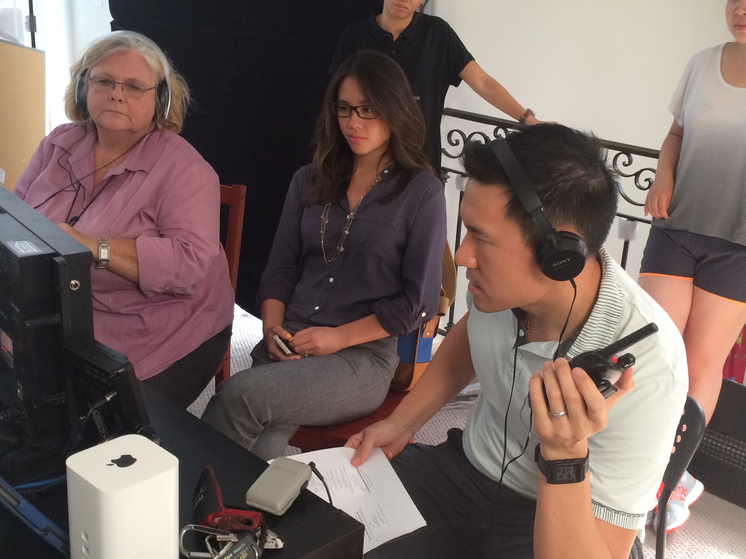 "Writer Elaine Low (center) on the set of ""Annie Undocumented,"" a web series based on her experiences as an undocumented teenager."