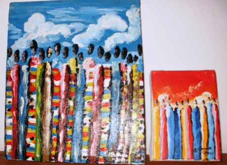 These are a style of painting that represents 4 seasons of Rwandan refugees returning home after the genocide. This is season 4, the preceding seasons have more smaller figures of people.