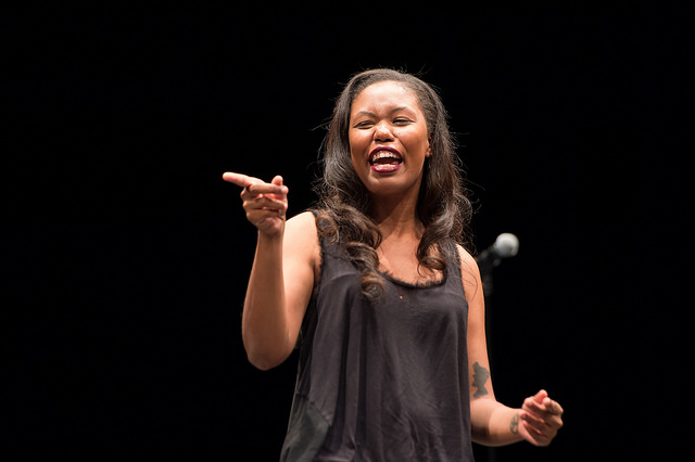 Featured Artist, Jasmine Mans, performing poetry at AFP 2015.