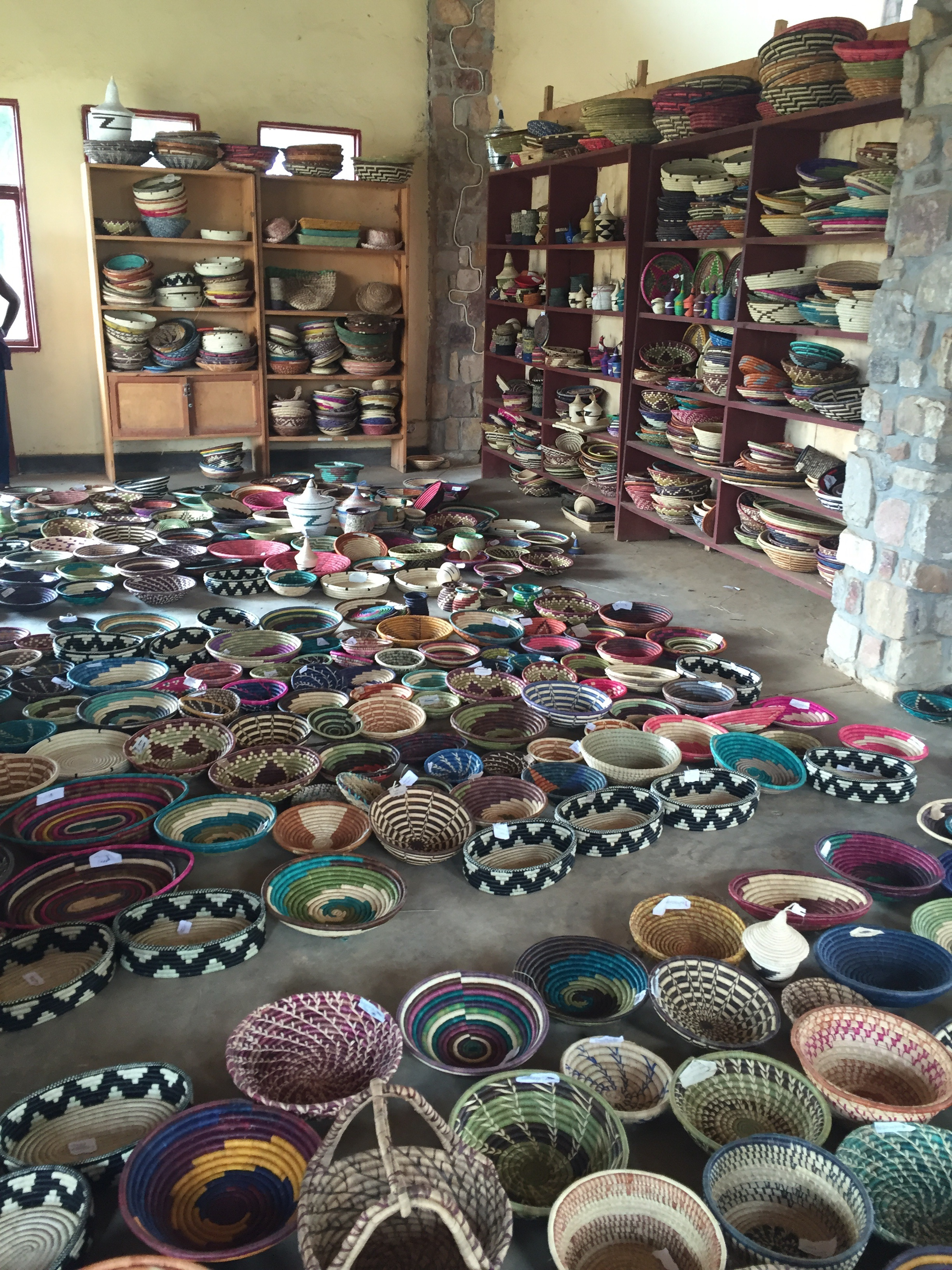 All of the beautiful handmade baskets at the women's cooperative at Gashora.
