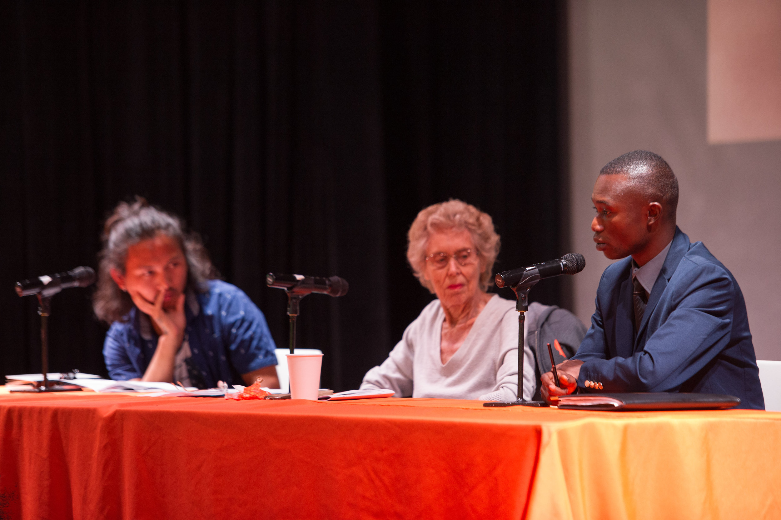 Survivor Panel: (Left to Right) Deo Rai (Bhutan/Nepal), Sophia Veffer (Wester Europe), Salumu Honoré (DR Congo)