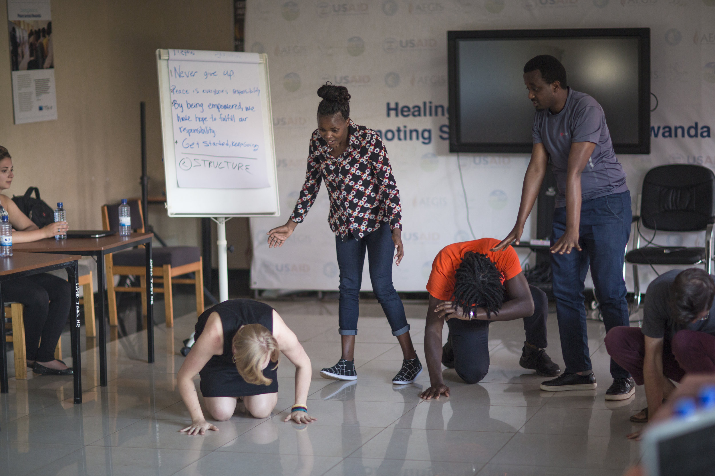 Workshop participant performance at the Kigali Genocide Memorial in Rwanda.