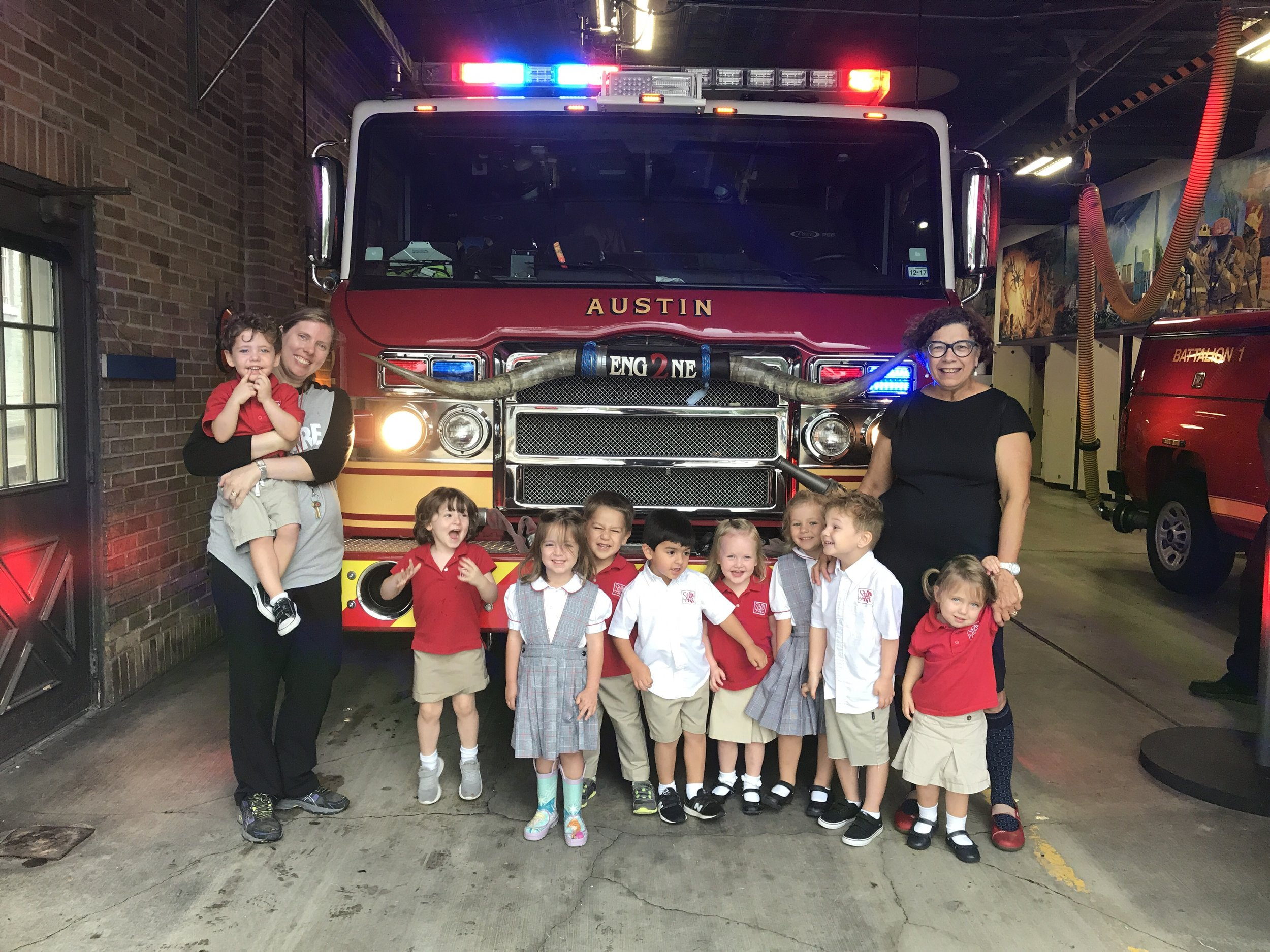 PK 3 class on a field trip to the local Fire Station with teachers Ms. Bush and Ms. Fleming