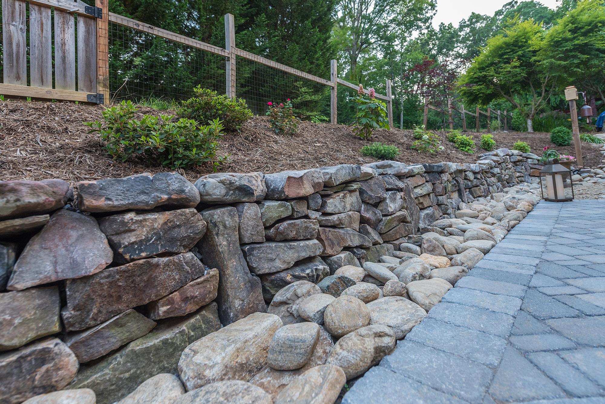 paver walkway and retaining wall