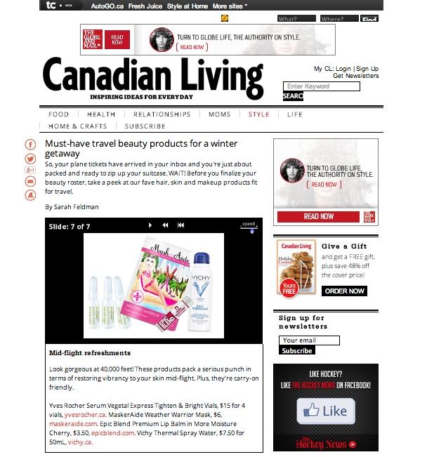 Copy of Canadian Living Magazine Online - MaskerAide Weather Warrior sheet mask
