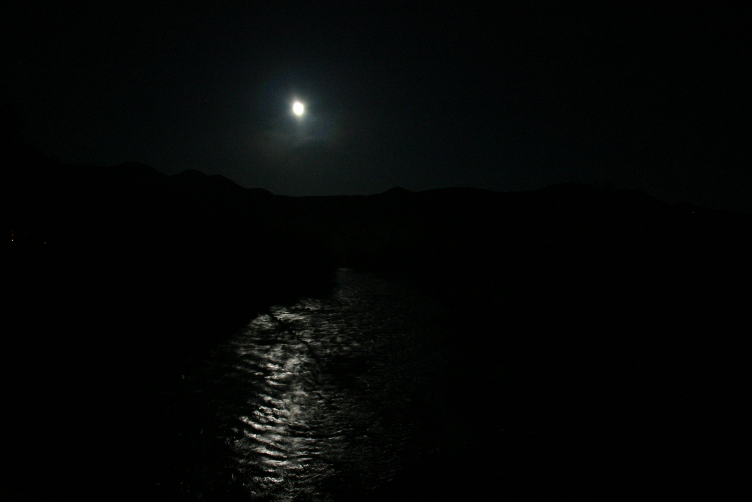 moon reflected on river