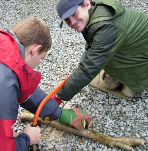 Health & Safety - James and I sawing wood the forest school way. Note hands through and above the blade to keep the wood stable and making it difficult to cut yourself if the blade jumps. Bare hands on the handle to get a good grip.
