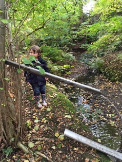 When its warm we bring guttering to make water chutes in the stream.
