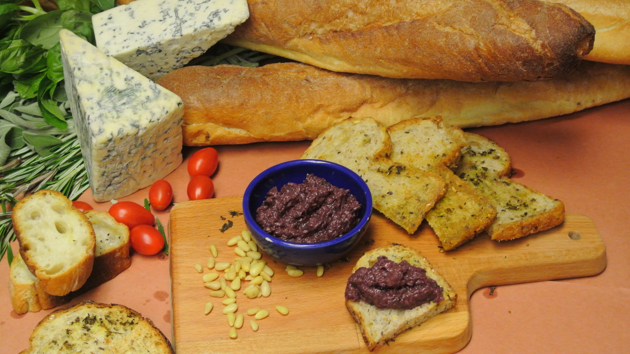 olive tapenade made with kalamata olives and Conte extra virgin olive oil