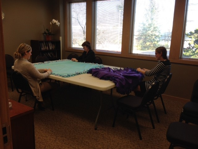 Making blankets for Domestic Abuse Intervention Services, 2016