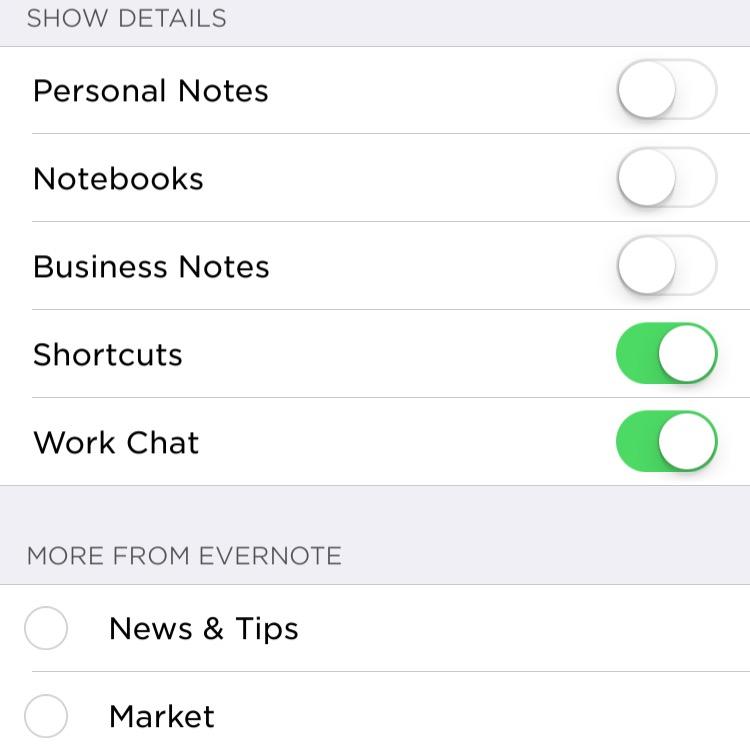 Ligue a chave para ver conteúdo adicional da tela principal do Evernote no iOS.
