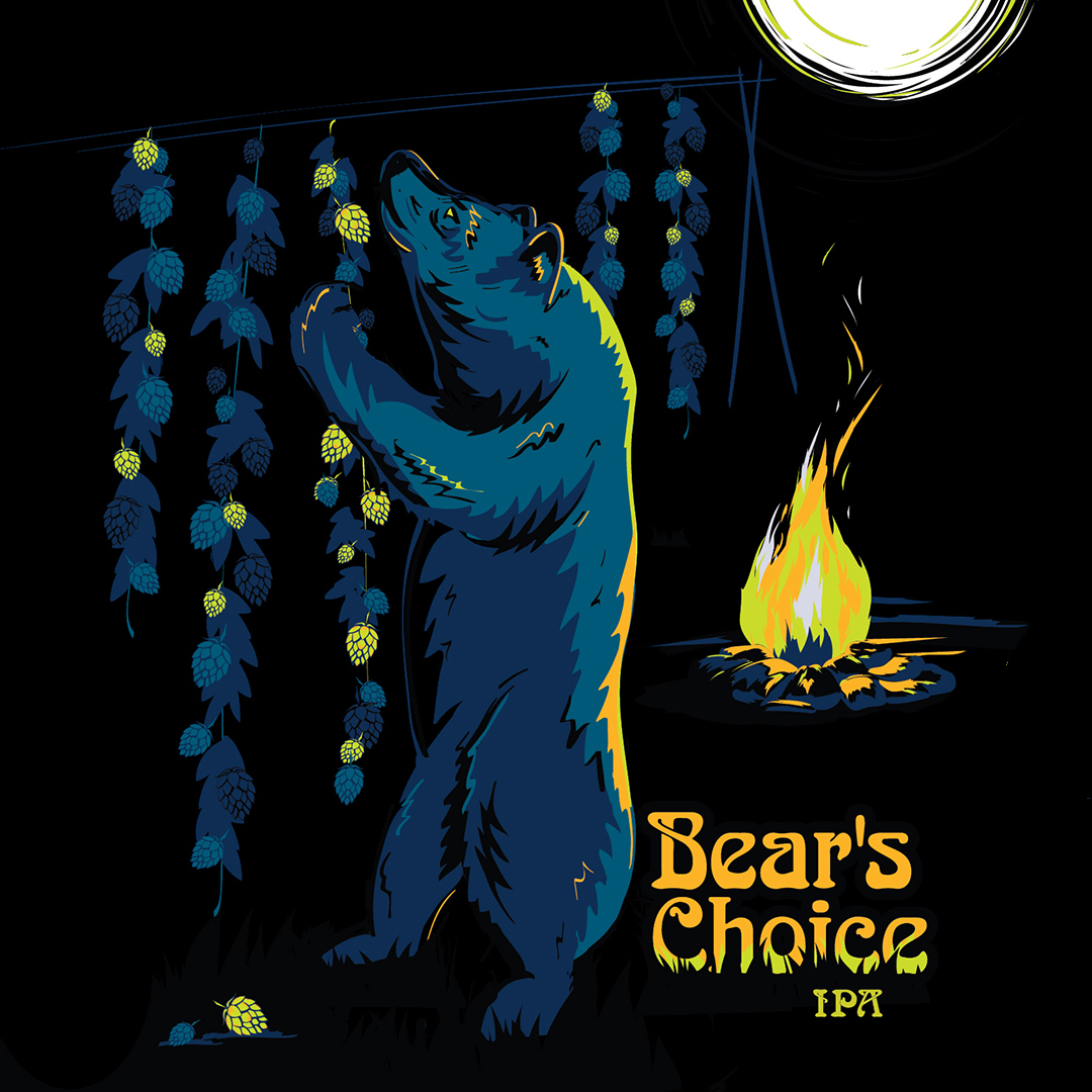 Bear's Choice    STYLE: American IPA   ABV: 6.5 % |  IBU: 70  |  SRM:  6  PROFILE:  Aromatic malts combined with the mango and tangerine citrus from copious amounts of Mosaic hops.  read more>