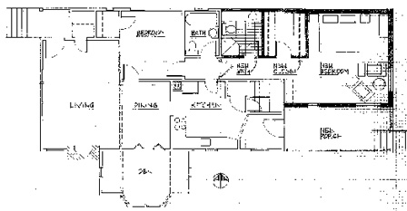 Floor plan showing new bedroom and new porch.