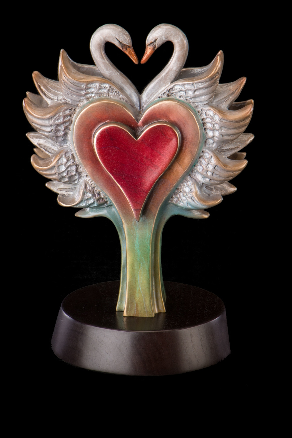 """Love Blooms, Bronze, 10.5"""" H x 6.5"""" W x 5.5 """" D,  Edition of 50: Hearts meet and receive;love blooms in all its glory."""