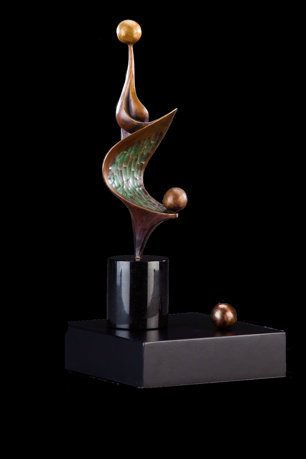 "Soulplay  , Bronze, 21"" H x 9.5"" W x 9.5"" D (including the base), Edition of 35:  Creativity is born in expansion.  Playing with creativity is a way to expand one's soul.  Intentionally allowing the soul to play is a way to bring healthy, expansive energy into one's life"