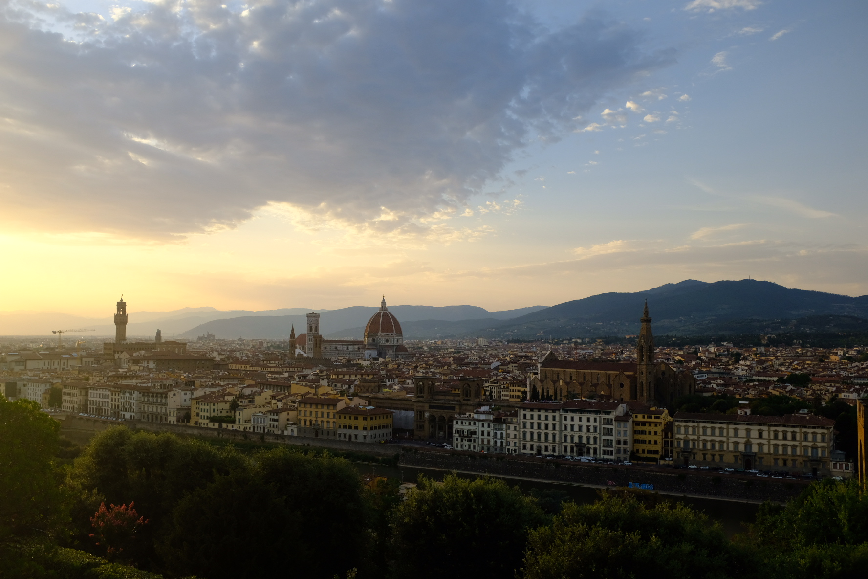 Sun setting over Florence from Piazzale Michelangelo.