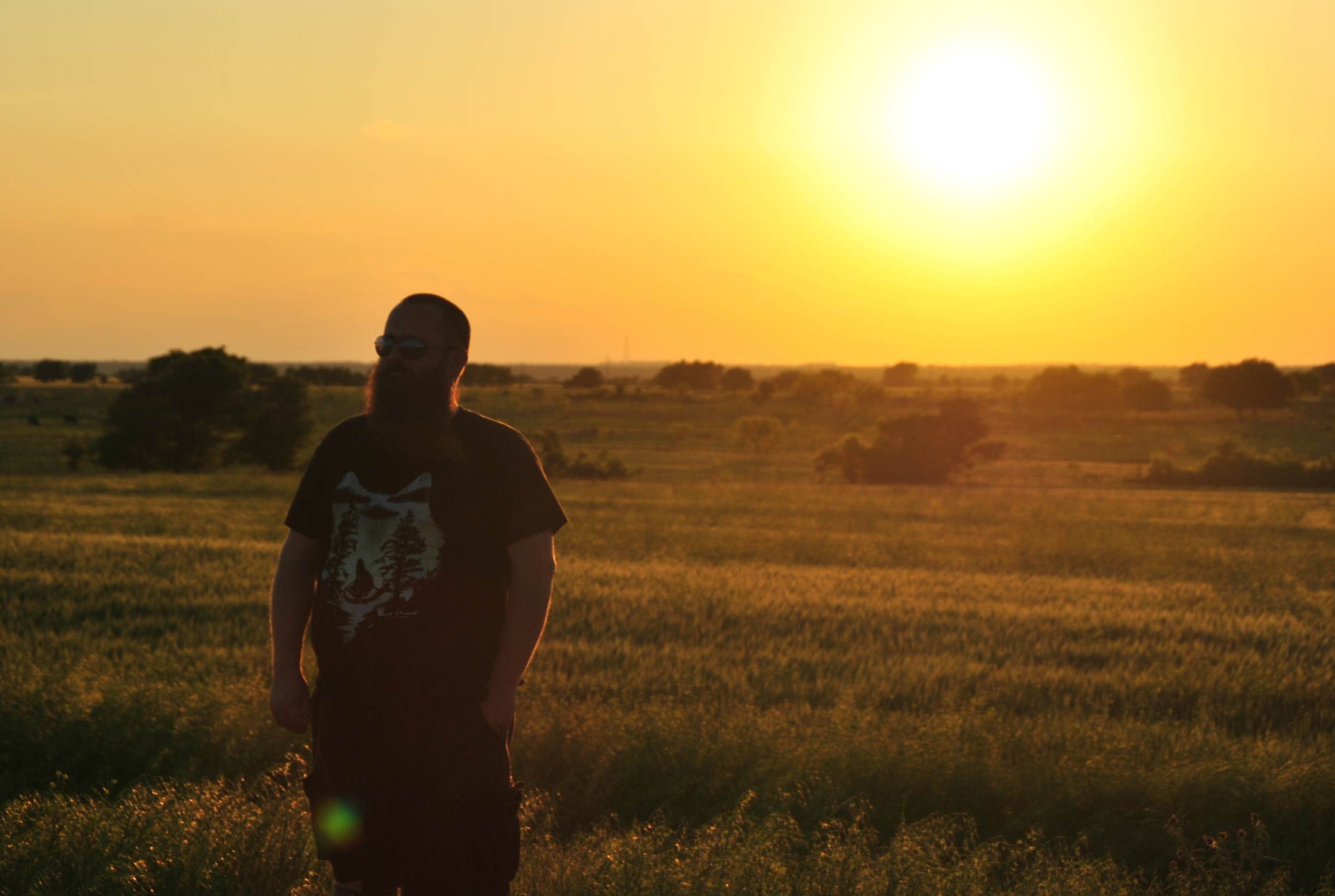 Adam stands majestically in sunset field to kill time while we're stranded and waiting for gas...