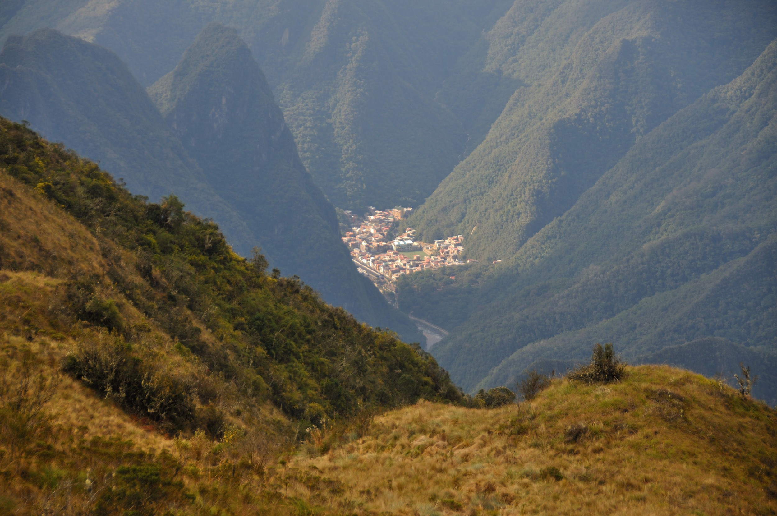 Aguas Calientes town in the distance