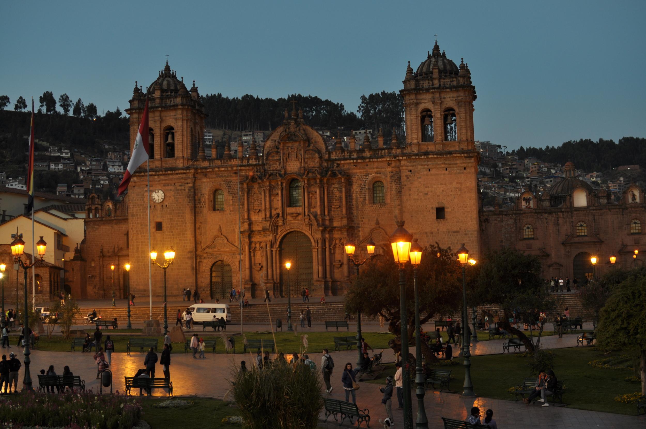 The Plaza De Armas at night