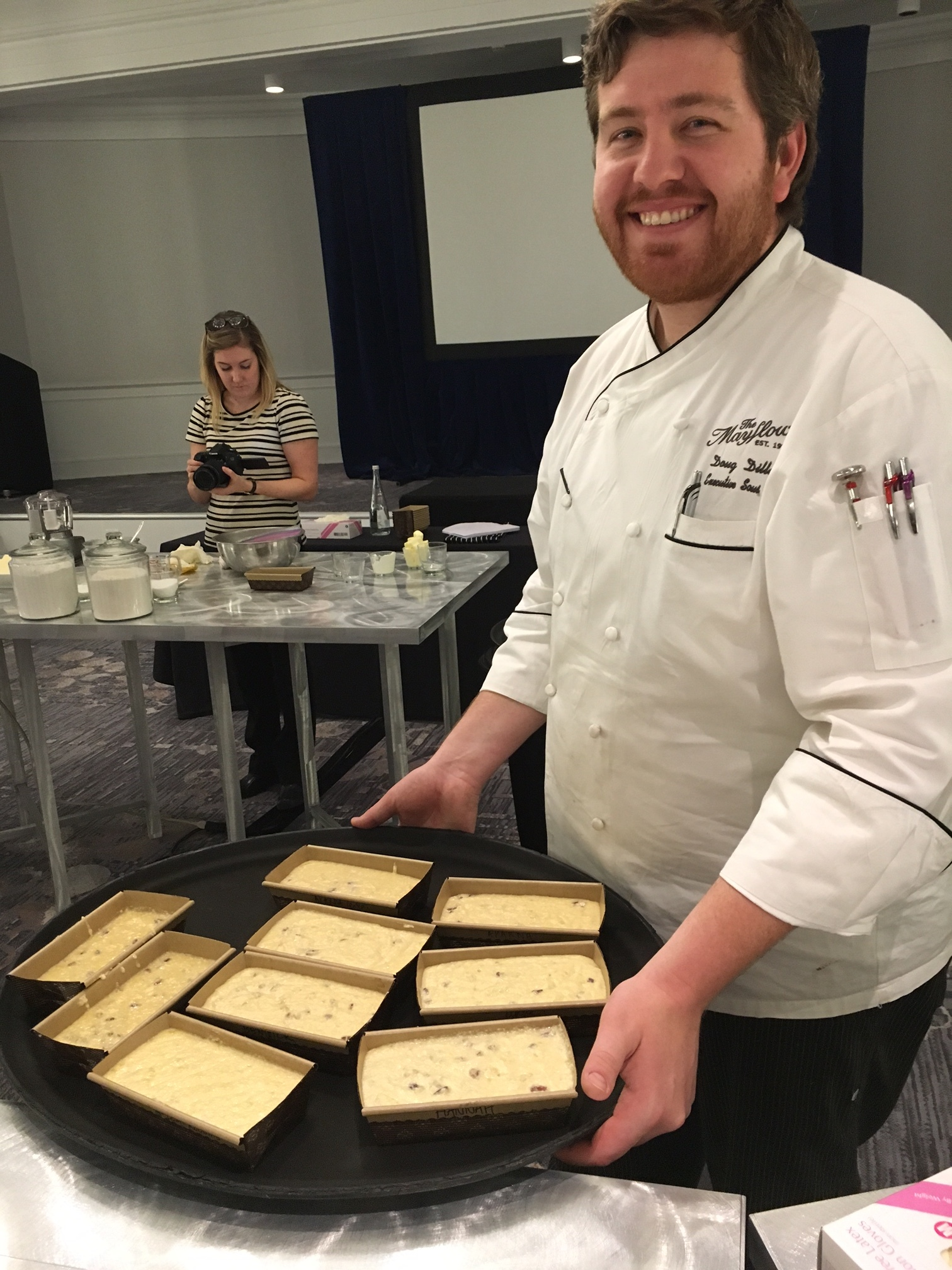 chef doug takes all the loaves to the oven