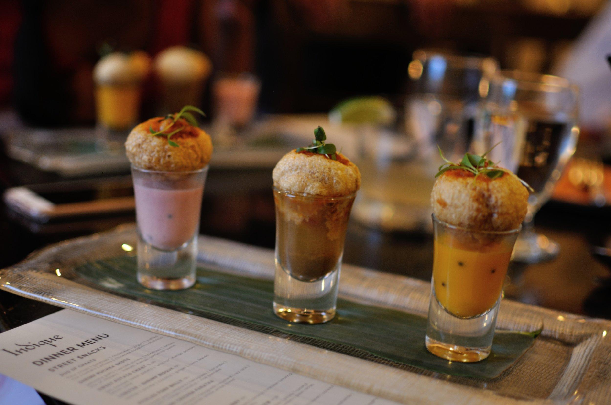 Shrimp puchka shots