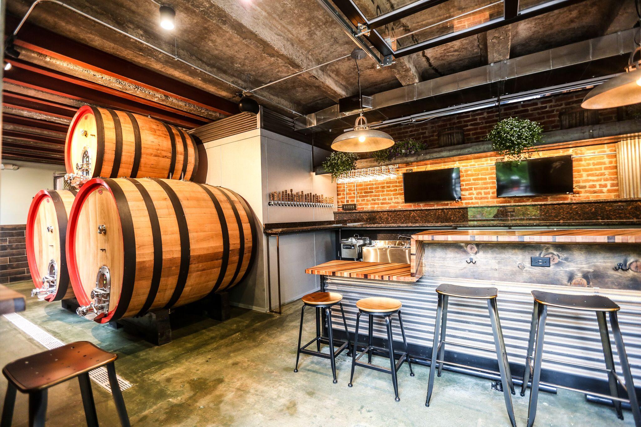 Giant cider barrels. (Photo Credit: Farrah Skeiky/Dimsum Media)