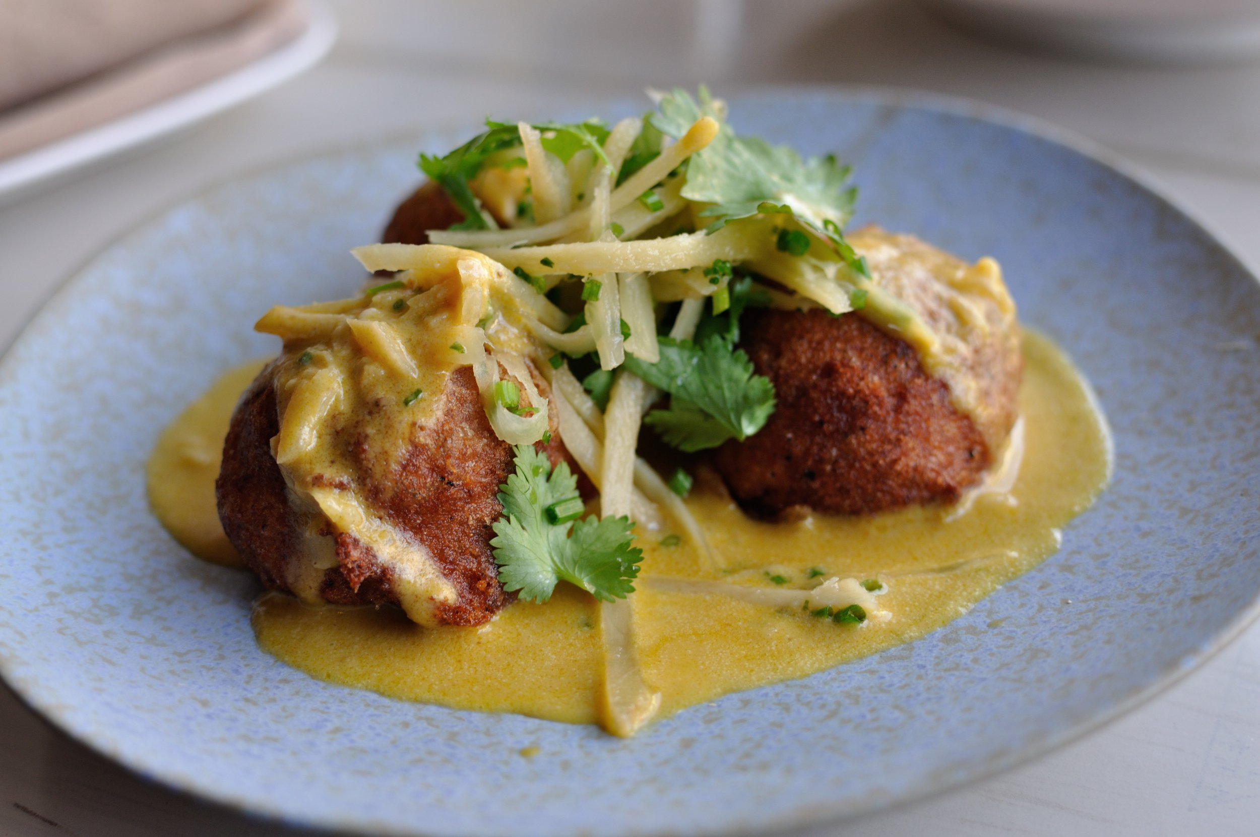 Black eye pea fritters with slivers of ginger