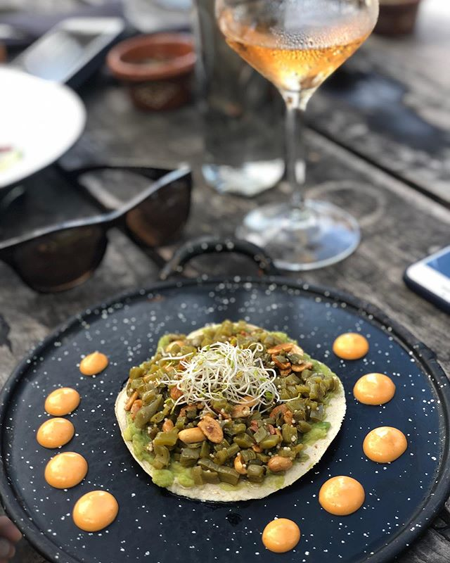 Nopales tostadas and rosé by the beach. Currently dreaming. #throwback
