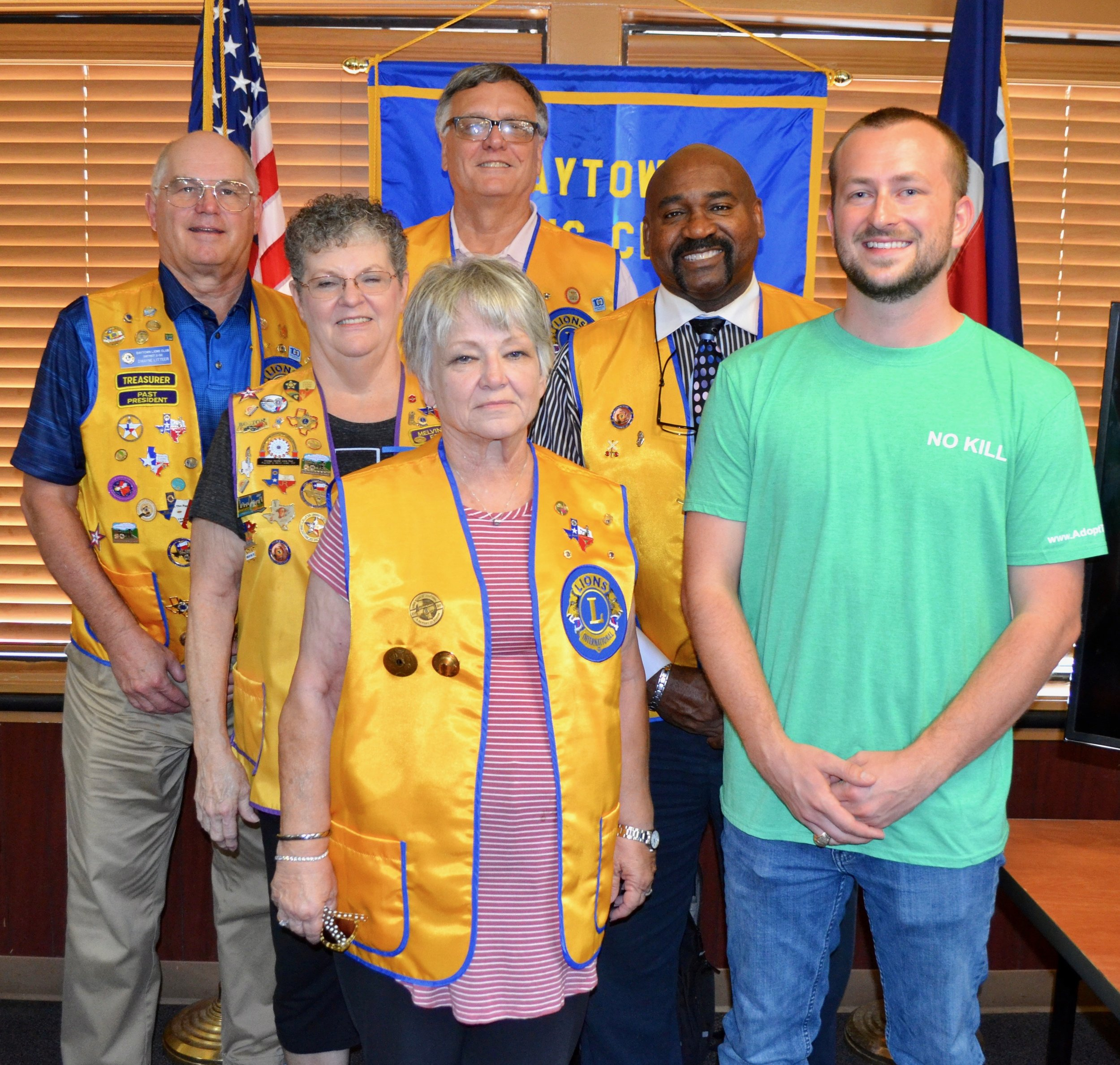 Jay Garrett was guest speaker at the Baytown Lions Club lunch meeting. Among those in attendance were (front row) club president Kathy Anderson and officers (middle row) Carol Leskovjan and Dr. Anthony Price, and (back row) Dwayne Litteer and Rev. Mark Davis.