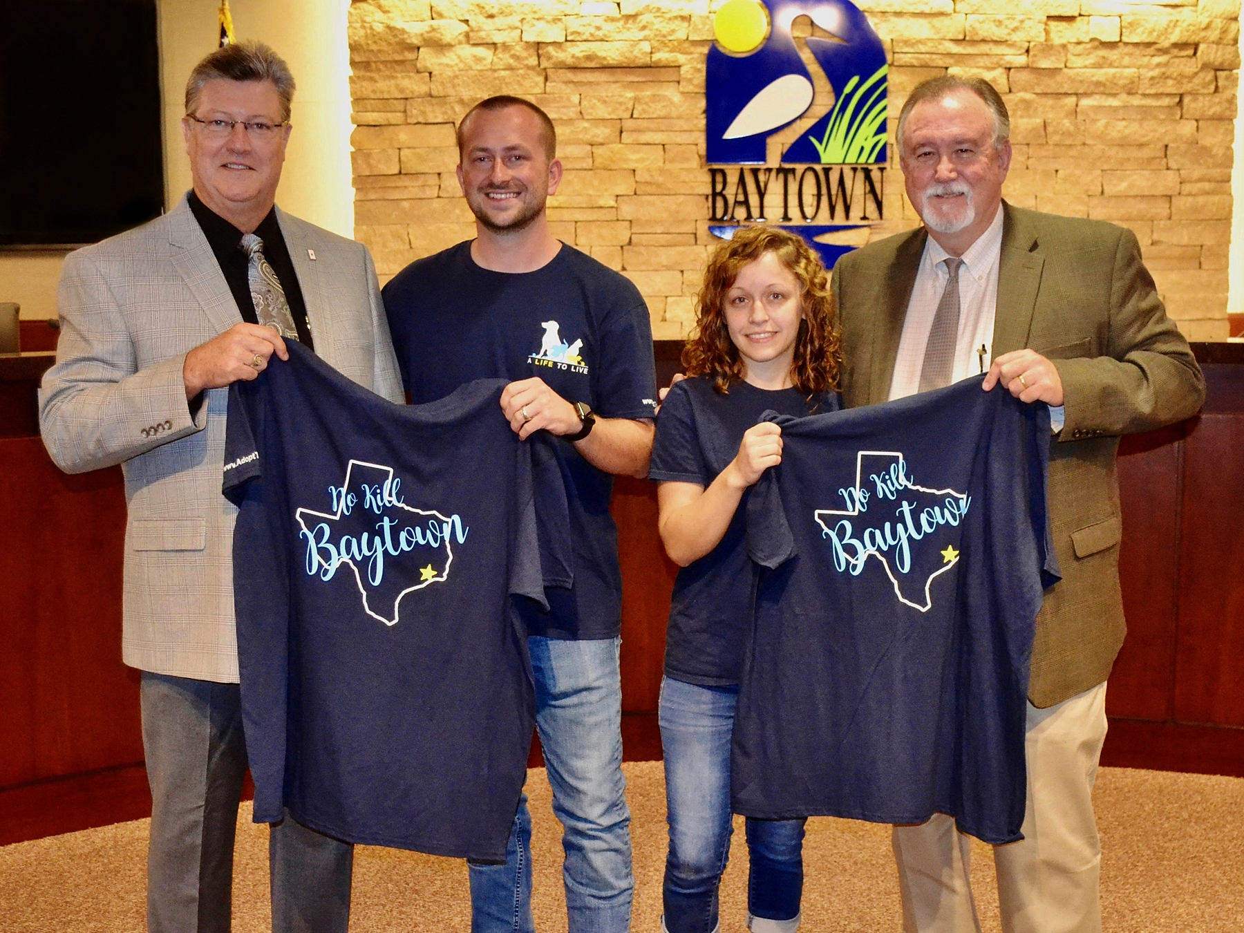 We recently presented No-Kill Baytown T-shirts to Baytown Mayor Stephen DonCarlos and City Council member Robert Hoskins. It recognizes their support for the council's passage of a resolution that commits the city to becoming no-kill by 2025. Since that occurred, A Life to Live has been hard at work on next steps to achieve no-kill status.