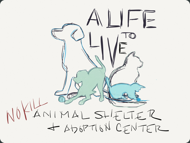 Original logo sketch by Jay Garrett Jr., founder and executive director of A Life to Live.