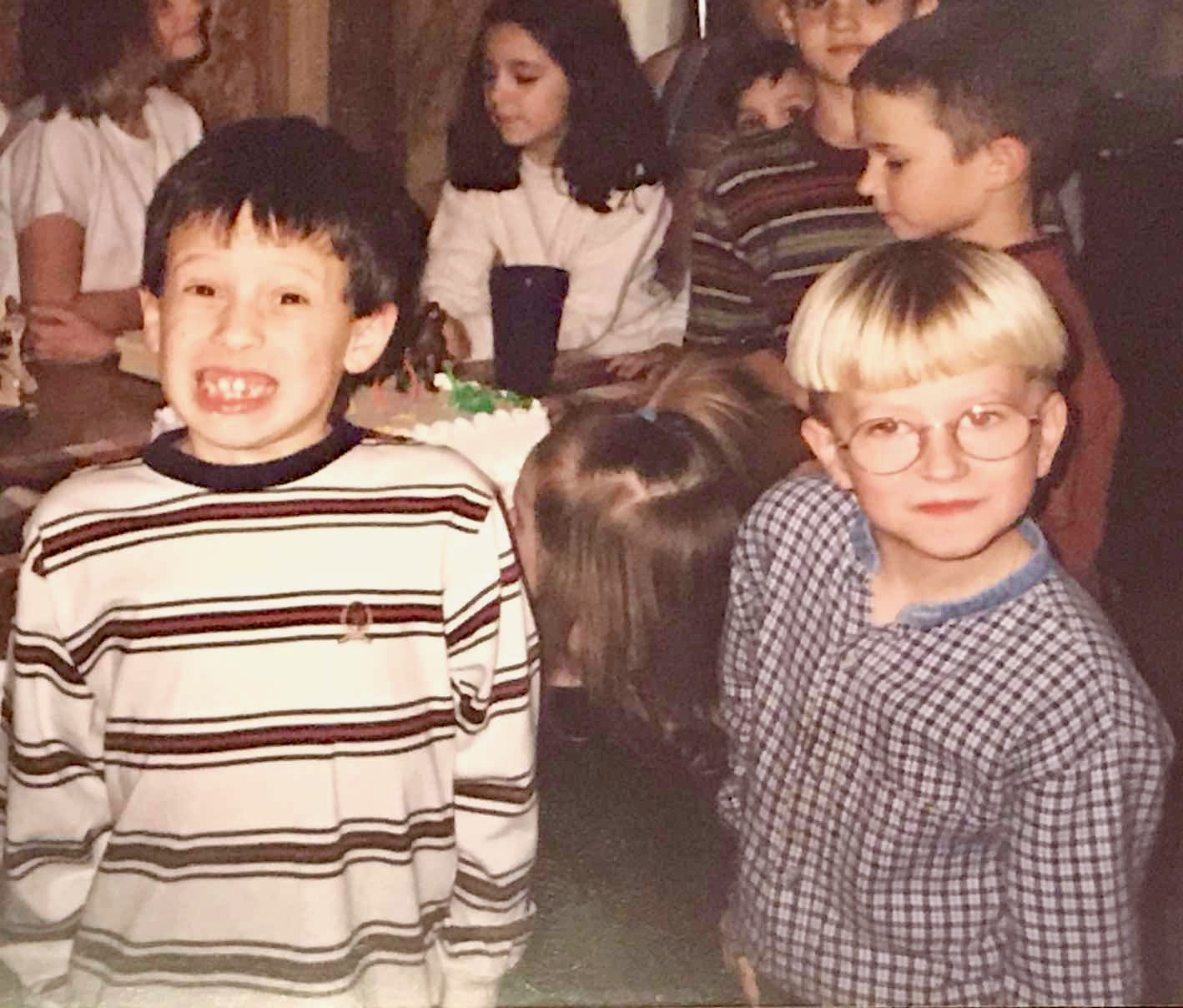 Chris and Jay, best friends throughout elementary and junior high school, at a birthday party.