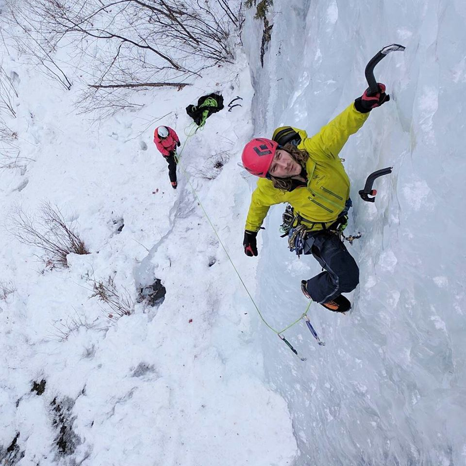 """Matty leading his way up Tammy Baker at Diamond Lake. A perfect day of ice climbing with great friends."""