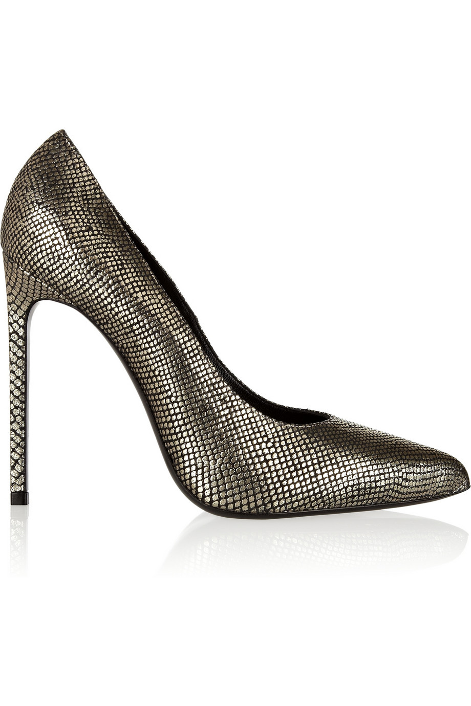 Saint Laurent Metallic Snake Effect Pumps $435