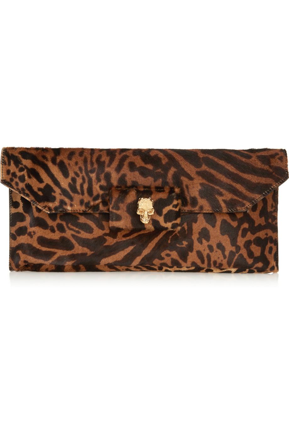 Alexander McQueen Leopard Calf HairClutch $651