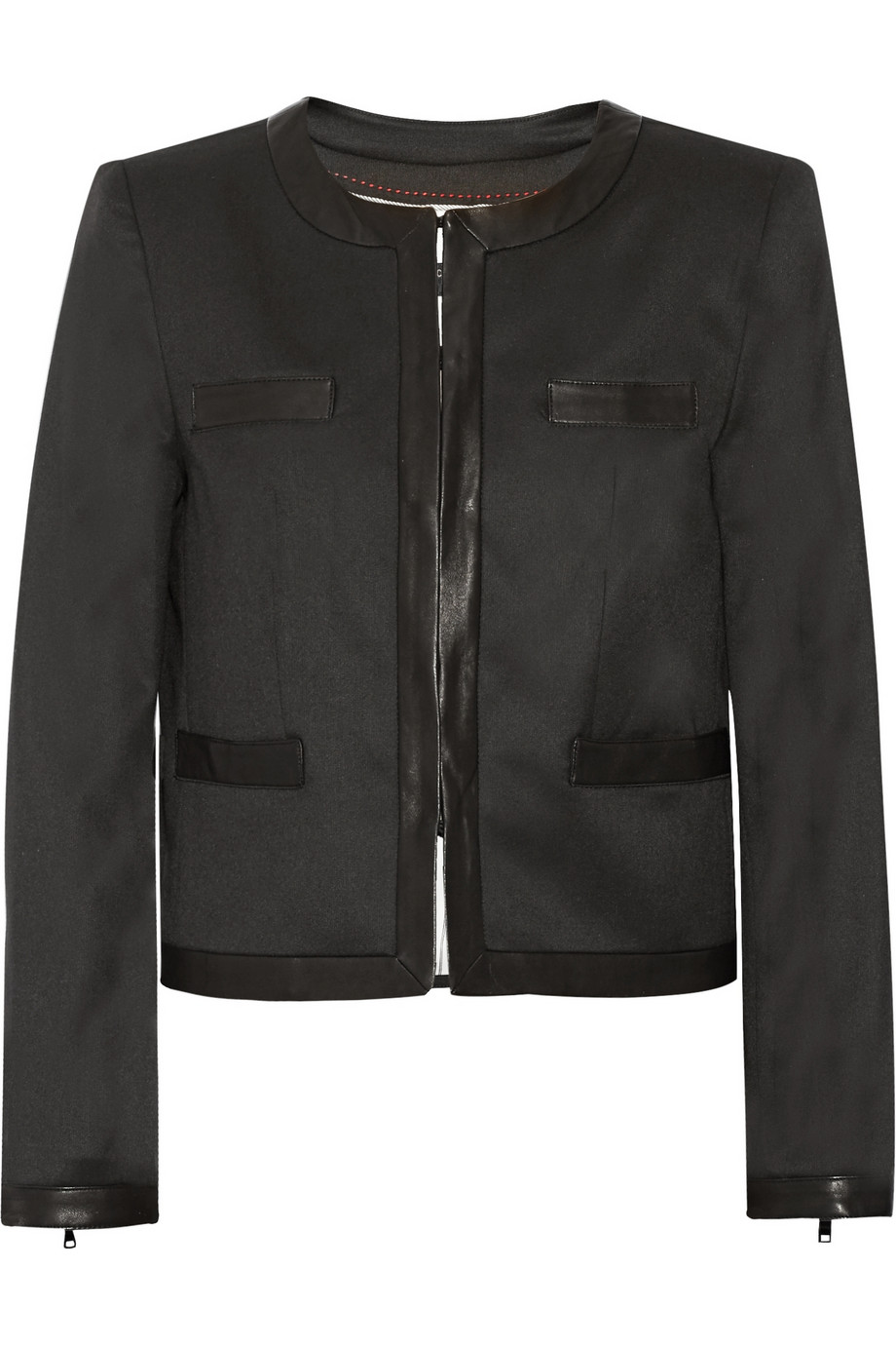 Alice & Olivia Jayde Leather Trimmed Jacket $220