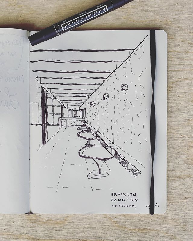 @brooklyncannery Taproom: #OrientedStrandPanels #Clearcorrugatedpanels #concretebar #corkflooring #mirrorbulbs #graywatersystem #taproom #cafe #brooklyncannery