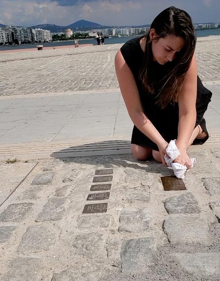 Cleaning Stolpersteine in Thessaloniki, Greece, July 2019.