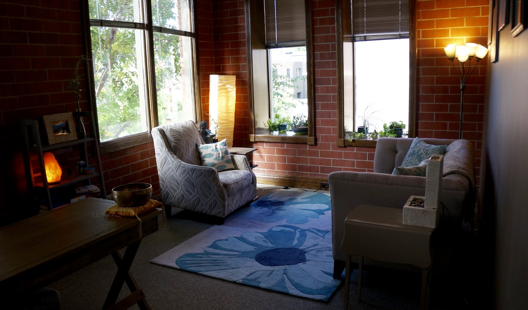Therapy room with vaulted ceilings