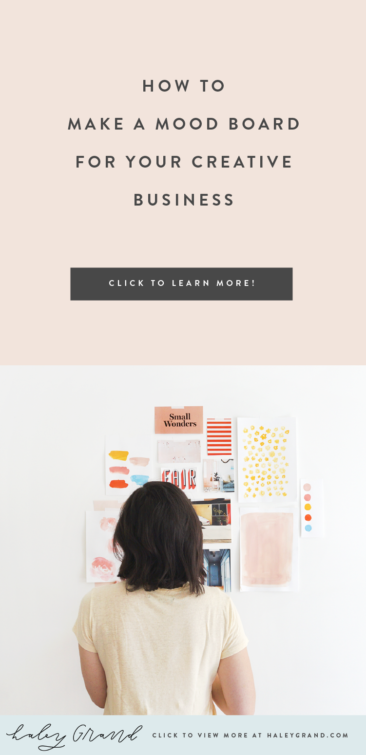 Let Haley teach you how to make a mood board for your creative business that not only serves as inspiration but also guides your brand strategy and voice. Are you a creative entrepreneur? Up-level your brand with a logo designed using hand lettering and illustration by Haley Grand! #branding #moodboard