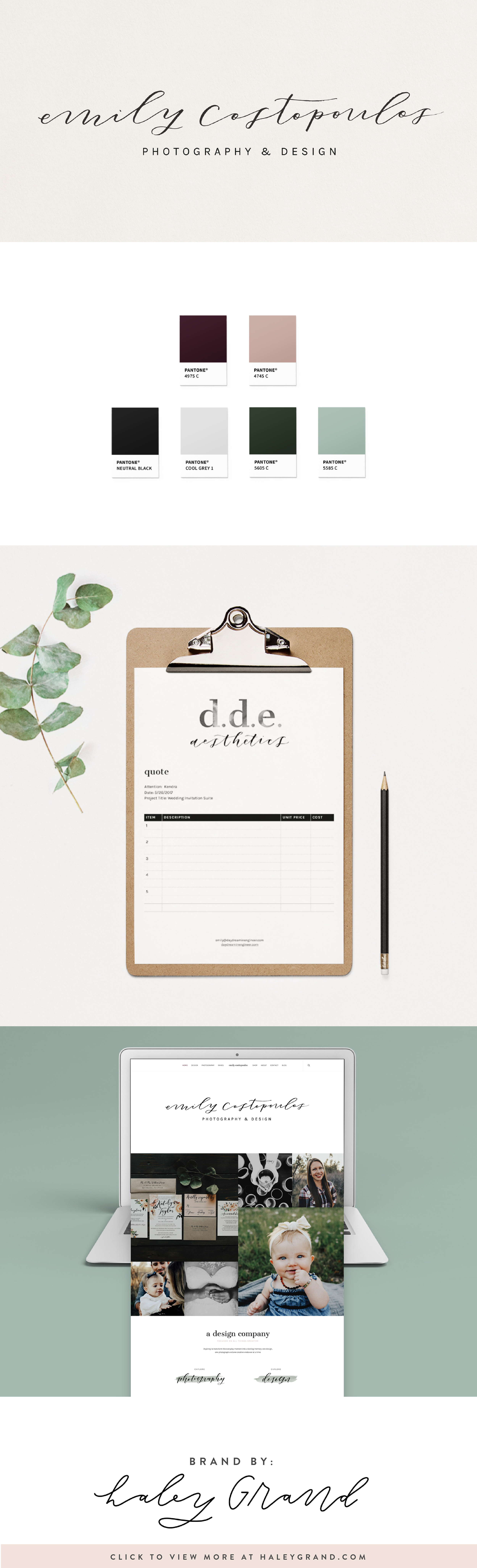 This romantic, down to earth calligraphy sets the tone for this hand-lettered brand and website. Are you a creative entrepreneur? Up-level your brand with a logo designed using hand lettering and illustration by Haley Grand! Click to see more of Haley's beautiful work! #branding #handlettering #websitedesign