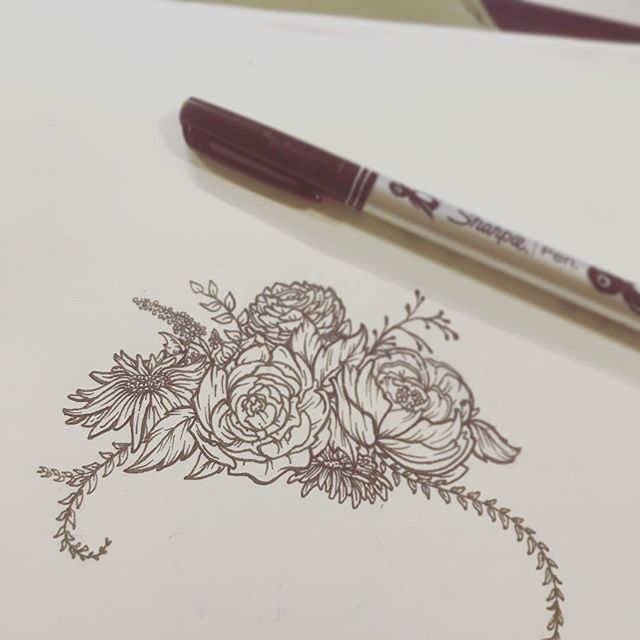 Floral sketch for a logo #sharpiedrawing #floral #logosketch #montanaartist