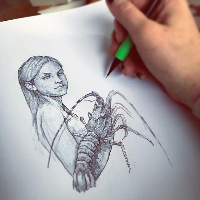 Last drawing of 2018, inspired by a dream I had recently. #sketchbook #graphite #lobster #artistsoninstagram #lastsketchoftheyear