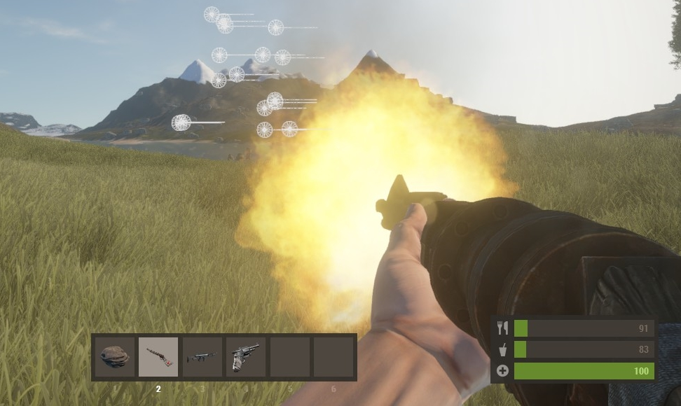 The shotgun being fired (and actually shooting projectiles!)