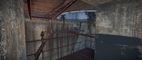 Jump across the beams to the other side