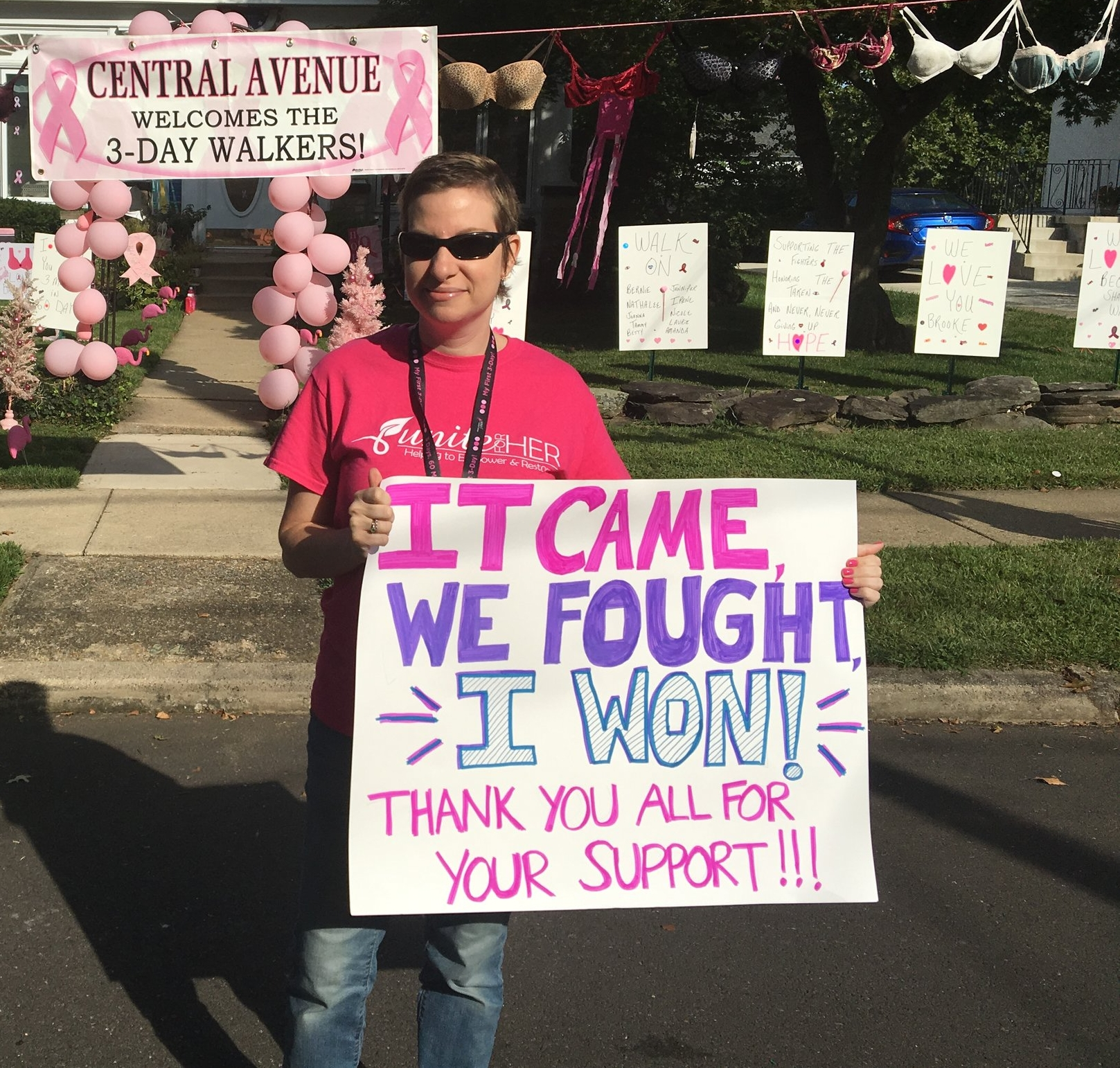 Cheering on the walkers at the Susan G Komen 3 Day