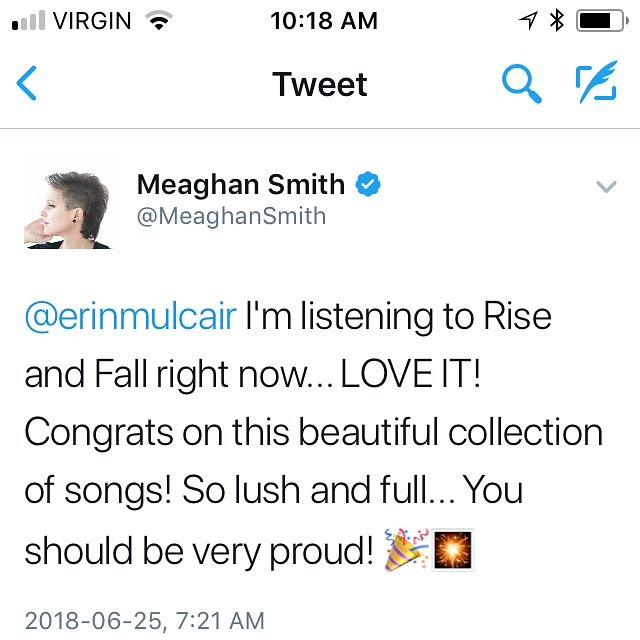 SUCH a sweet tweet to wake up to @themeaghansmith ! Really appreciate your kind words.  #newalbum #riseandfall #canadianmusic #indiepop #sing #singersongwriter #musicislife #newmusic #yegmusic #albertamusic
