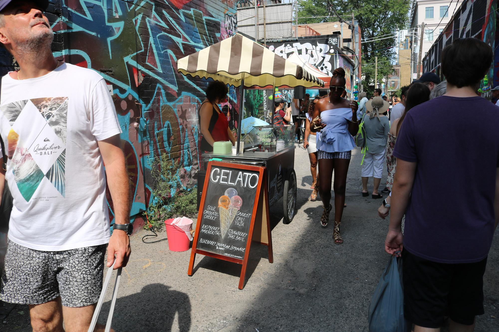 Image: Gelato in Graffiti Alley thanks to Queen Street's Death in Venice CREDIT Katrina Afonso