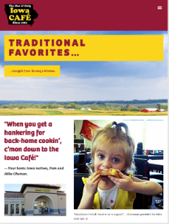 "New web home page stresses ""Back-Home Cookin' - Small Town Friendly"""