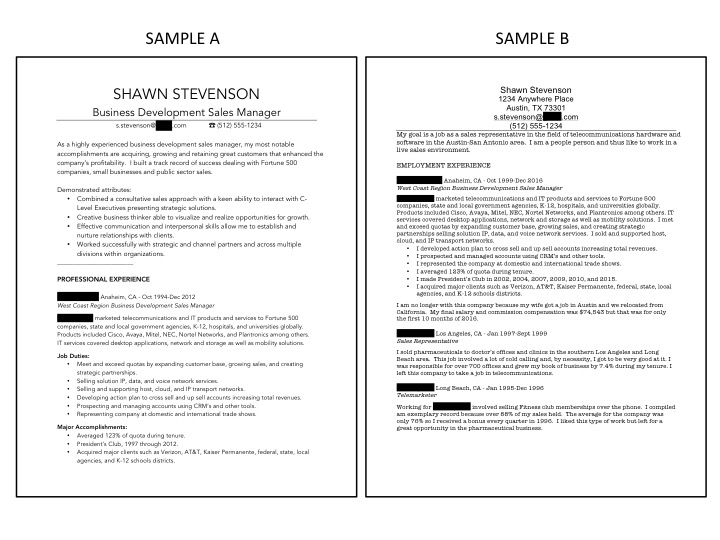 Which of these two sample resumes looks more appealing at first glance?  Which one would you say you'd be more apt to read?  Note:  Survey of employers picked one of them 91% to 9%.